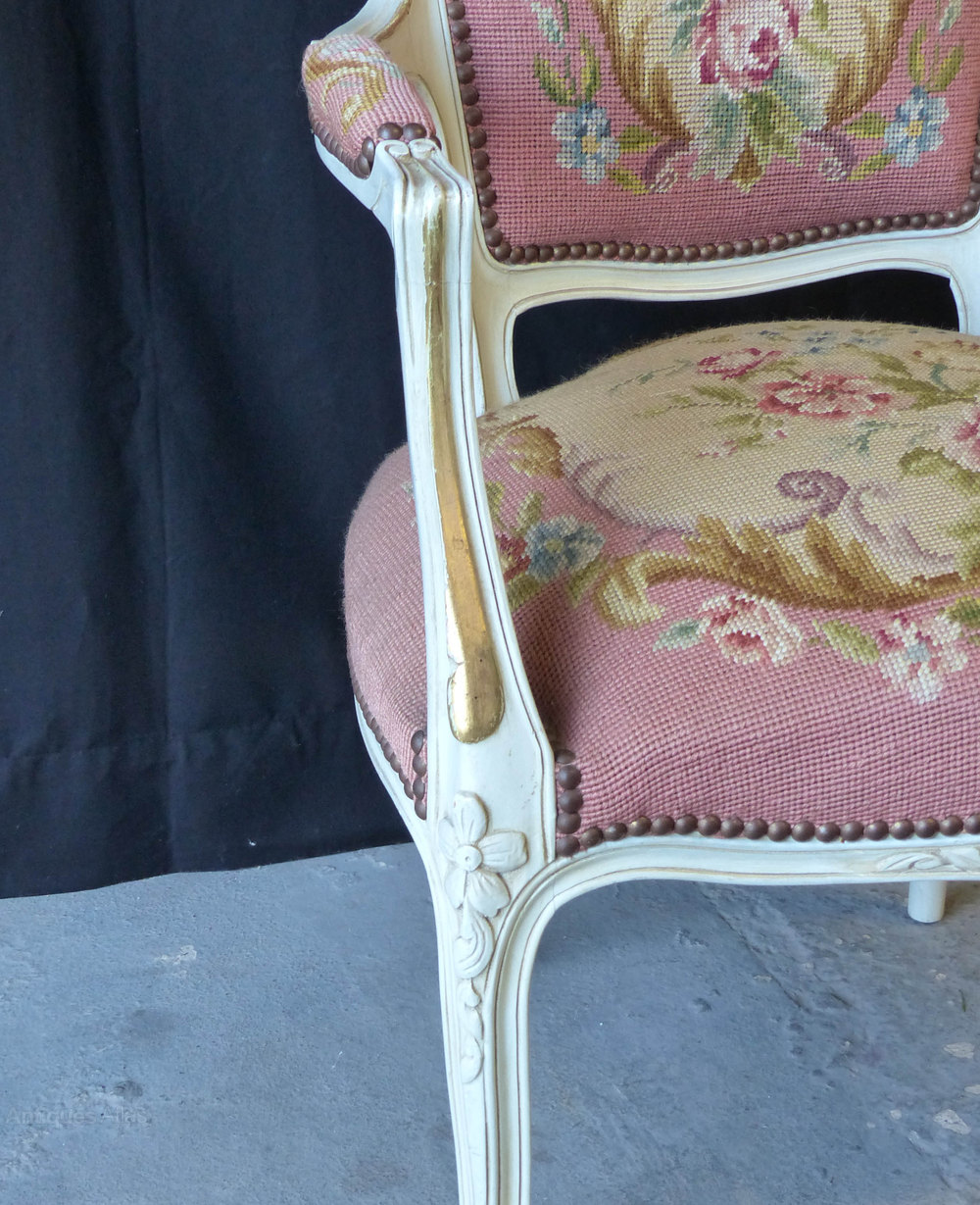 French Pink Needlepoint Chair Antiques Atlas