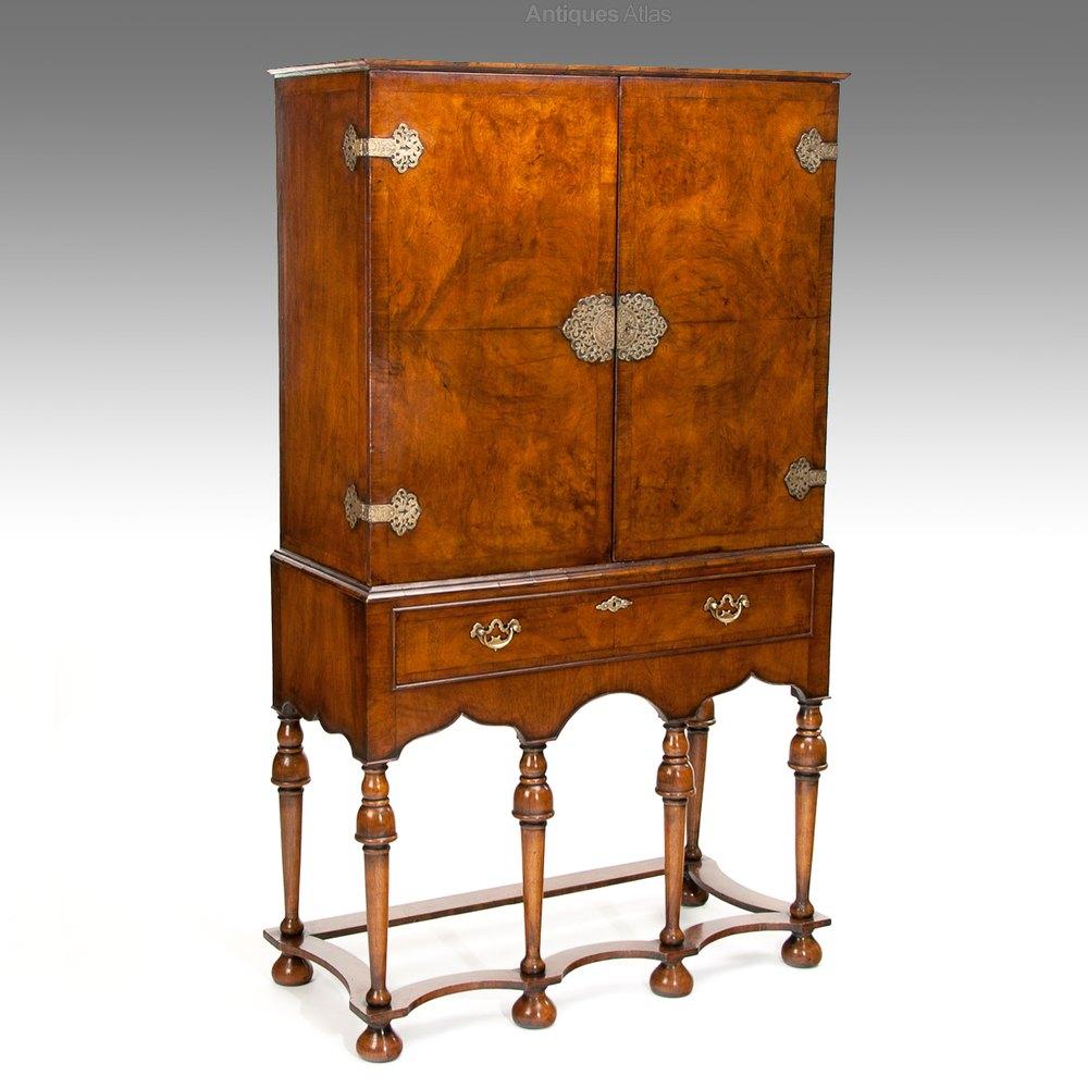 A Good Quality Antique Walnut Cocktail Cabinet Antiques