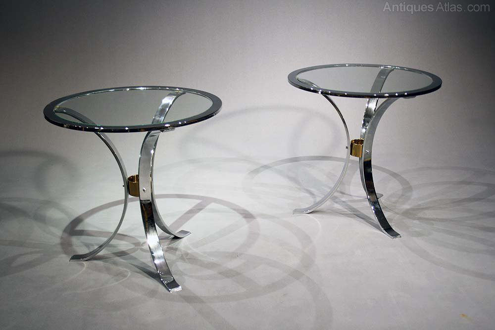 A Pair Of Chrome And Brass Side Tables ...