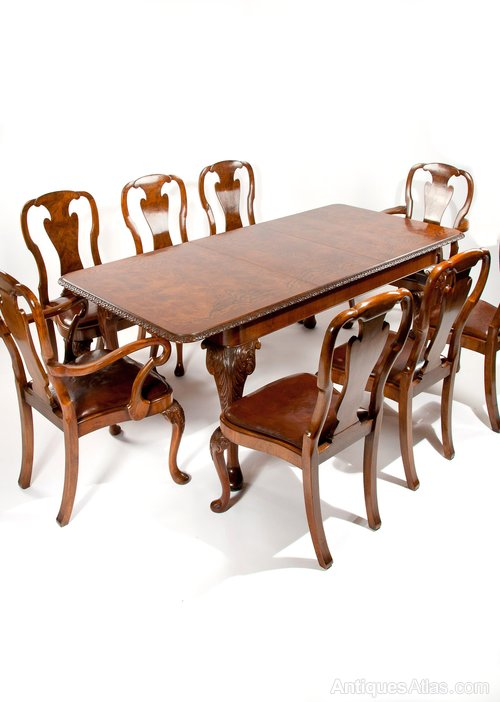 A Quality Walnut Dining Table And 8 Chair Set Antiques Atlas