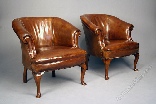 - Antique Pair Of Leather Tub Chairs - Antiques Atlas