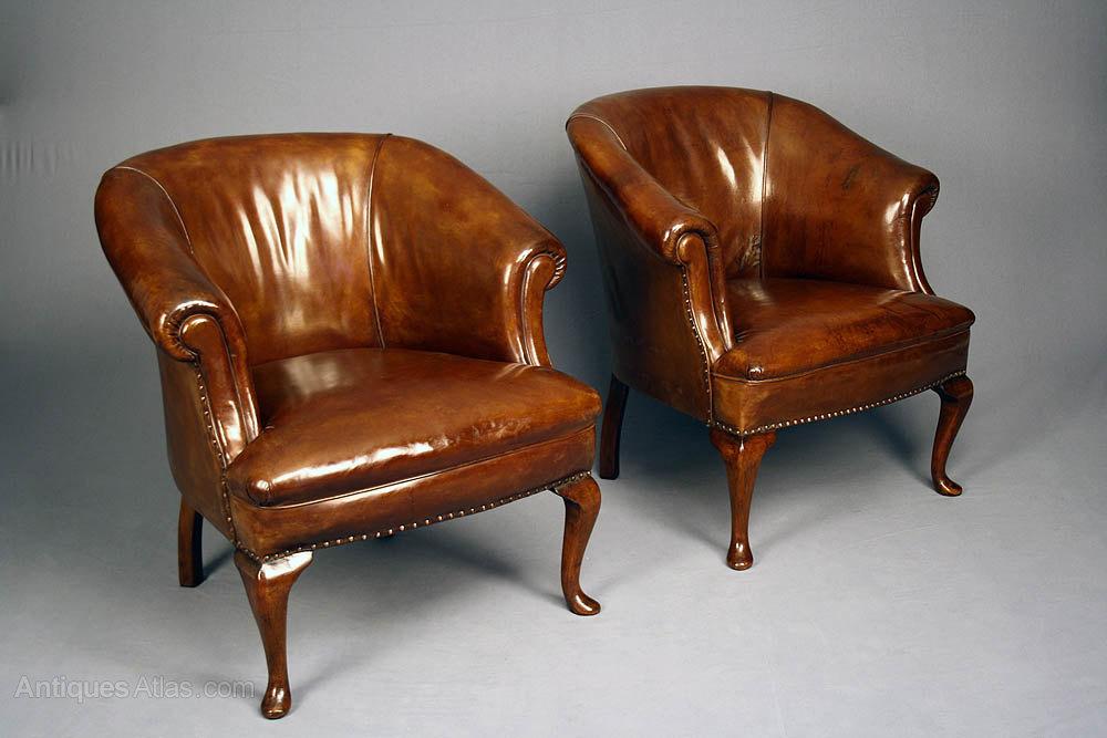 Antique Pair of Leather Tub Chairs Antique Tub Chairs ... - Antique Pair Of Leather Tub Chairs - Antiques Atlas