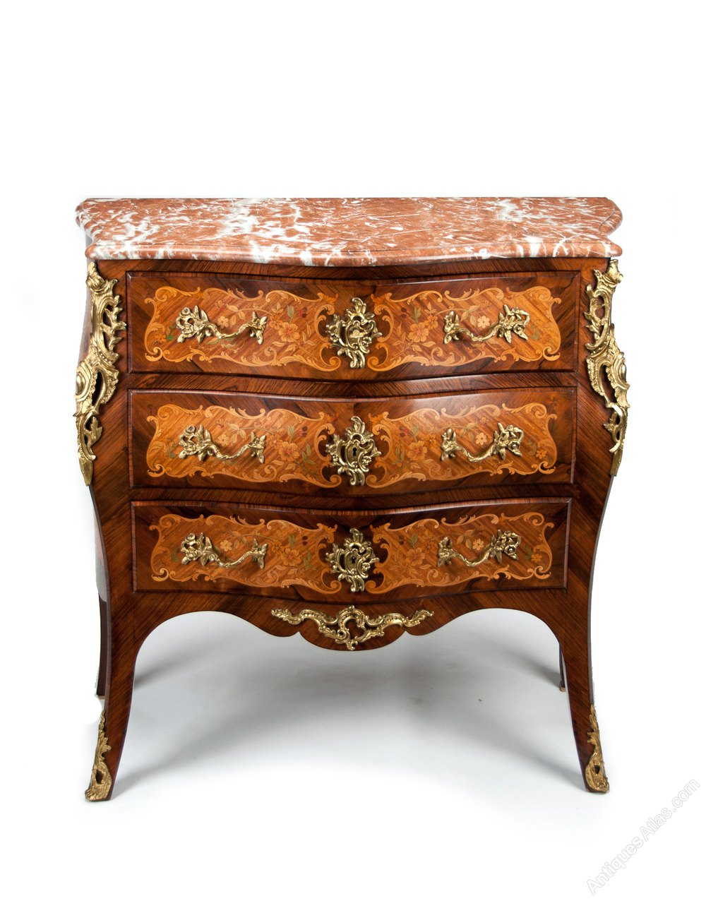 fine french louis xv style inlaid bombe commode antiques atlas. Black Bedroom Furniture Sets. Home Design Ideas