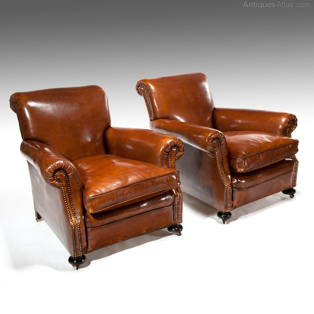 Fine Pair Of Antique Leather Club Armchairs - Antiques Atlas