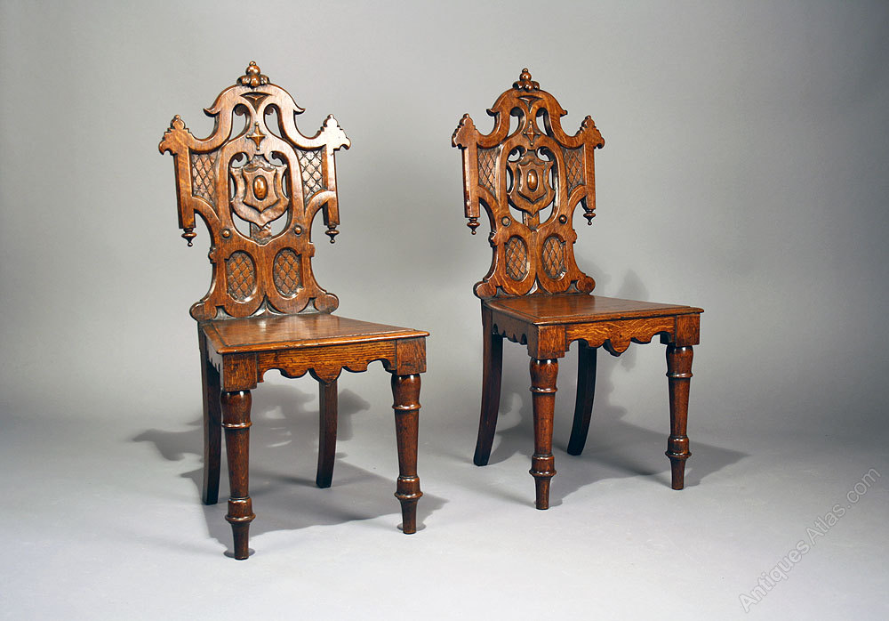Pair of Antique Gothic Oak Hall Chairs ... - Pair Of Antique Gothic Oak Hall Chairs - Antiques Atlas