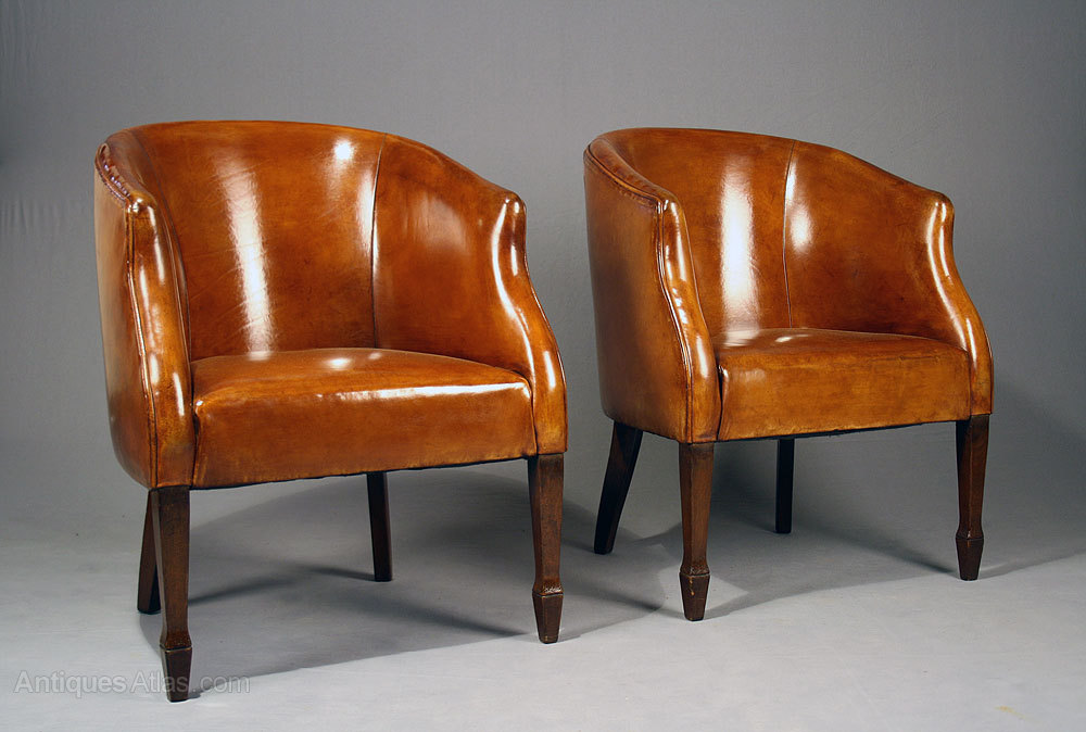Pair of Leather Tub Chairs Vintage ... - Antiques Atlas - Pair Of Leather Tub Chairs
