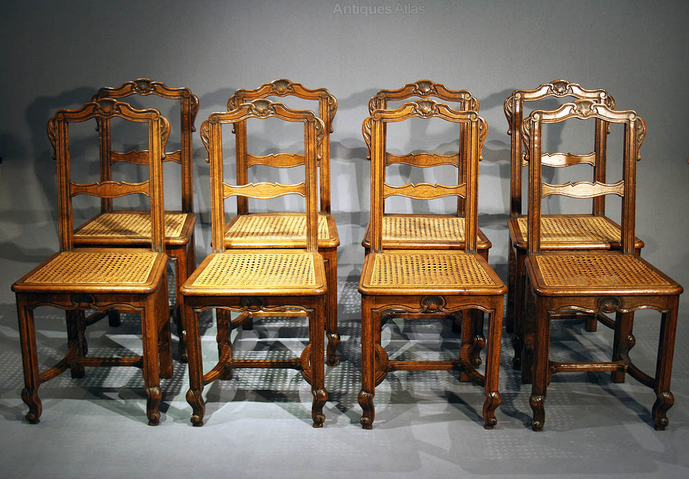 Set Of French Oak Dining Chairs 1900s