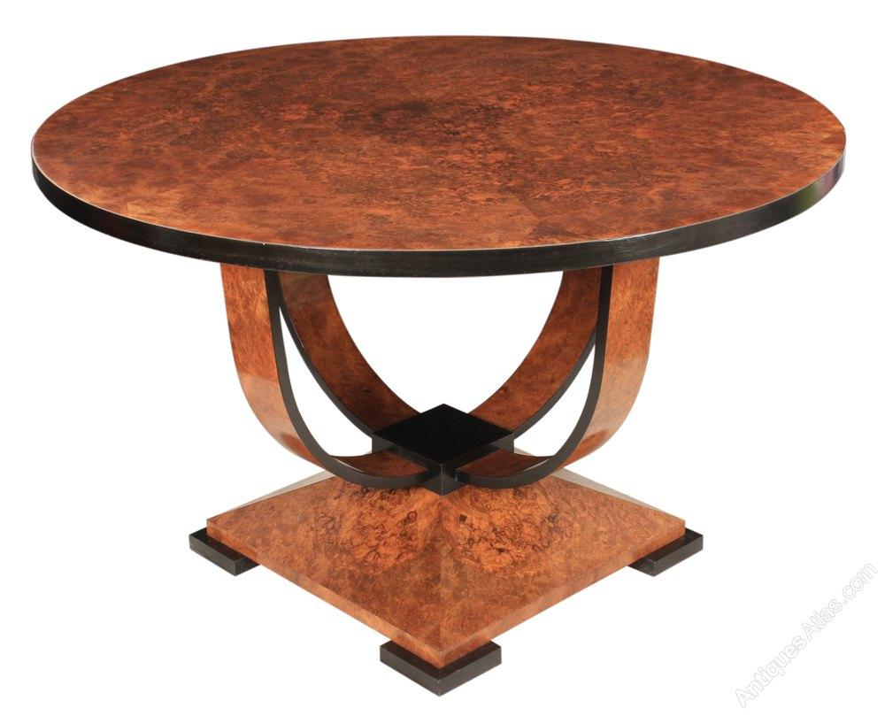 art deco burr walnut round dining centre table antiques atlas. Black Bedroom Furniture Sets. Home Design Ideas