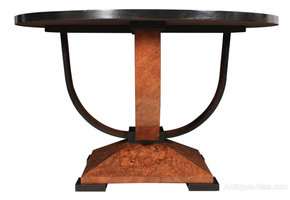 art deco burr walnut round dining centre table antiques atlas. Black Bedroom Furniture Sets. Home Design Ideas