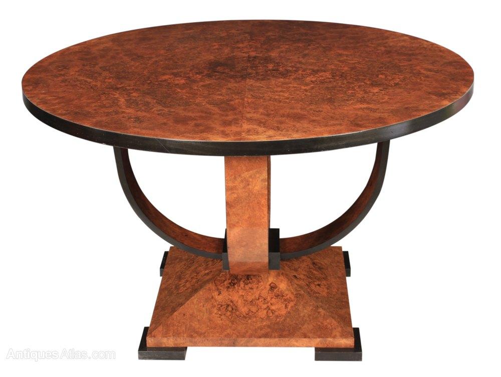 Art Deco Burr Walnut Round Dining Table ...