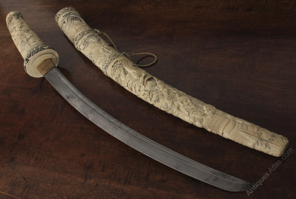 Antiques Atlas Carved Ivory Japanese Wakizashi Samurai Sword
