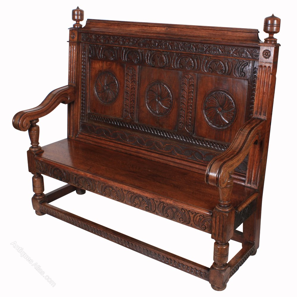 Carved solid oak hall bench antiques atlas