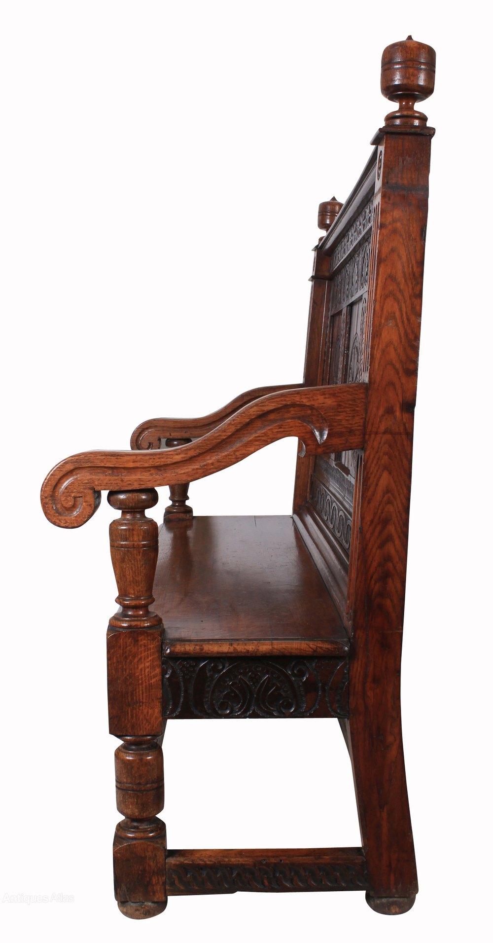Oak Foyer Bench : Carved solid oak hall bench antiques atlas