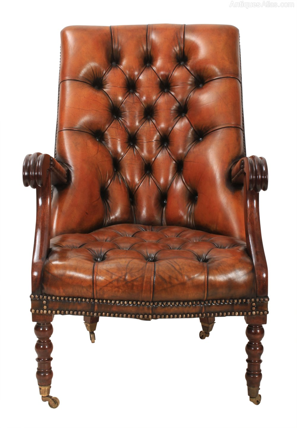 Mahogany and Leather Chesterfield Library Chair Antique Library Chairs ... - Mahogany And Leather Chesterfield Library Chair - Antiques Atlas