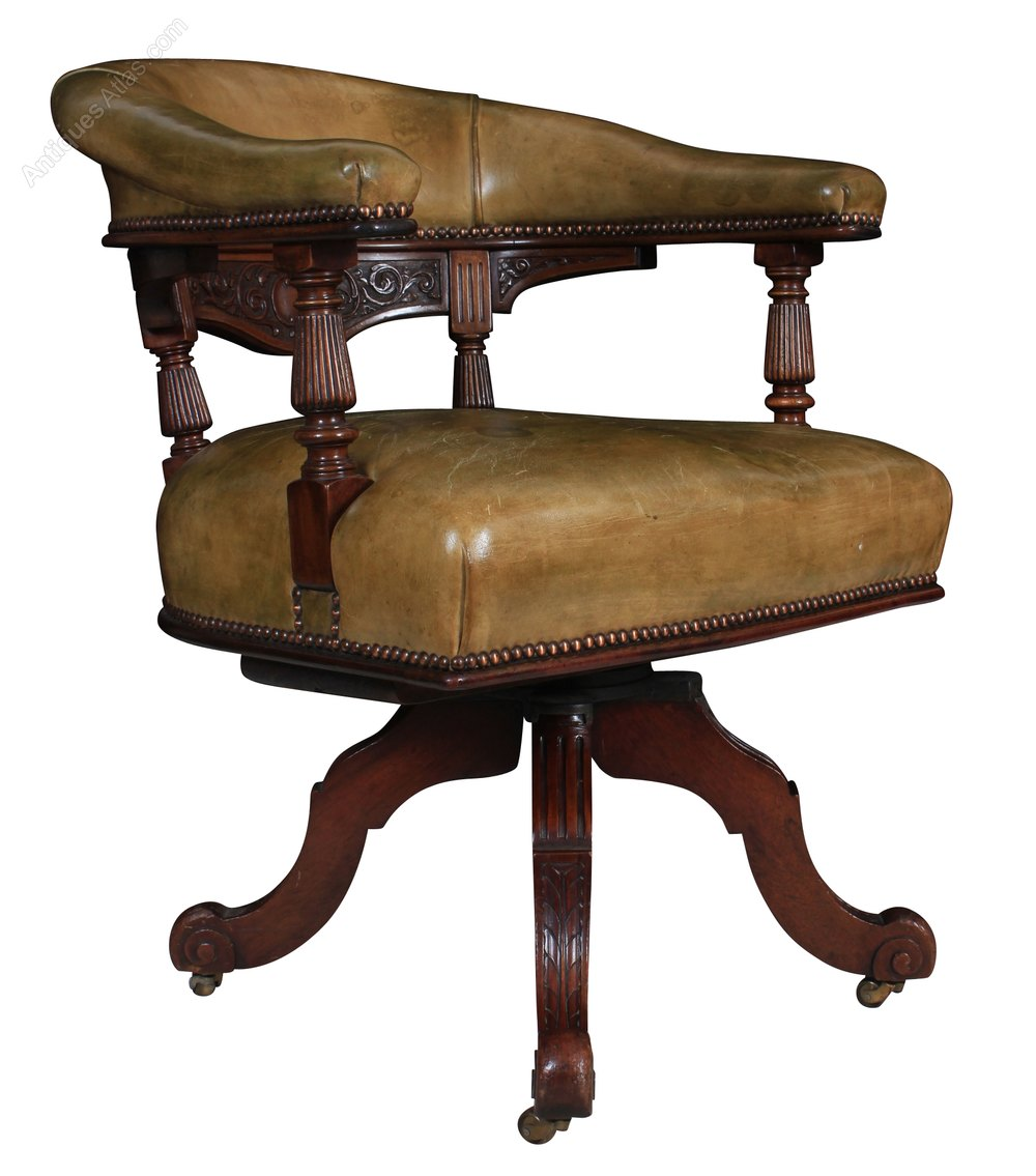 Mahogany And Leather Swivel Desk Chair Antiques Atlas