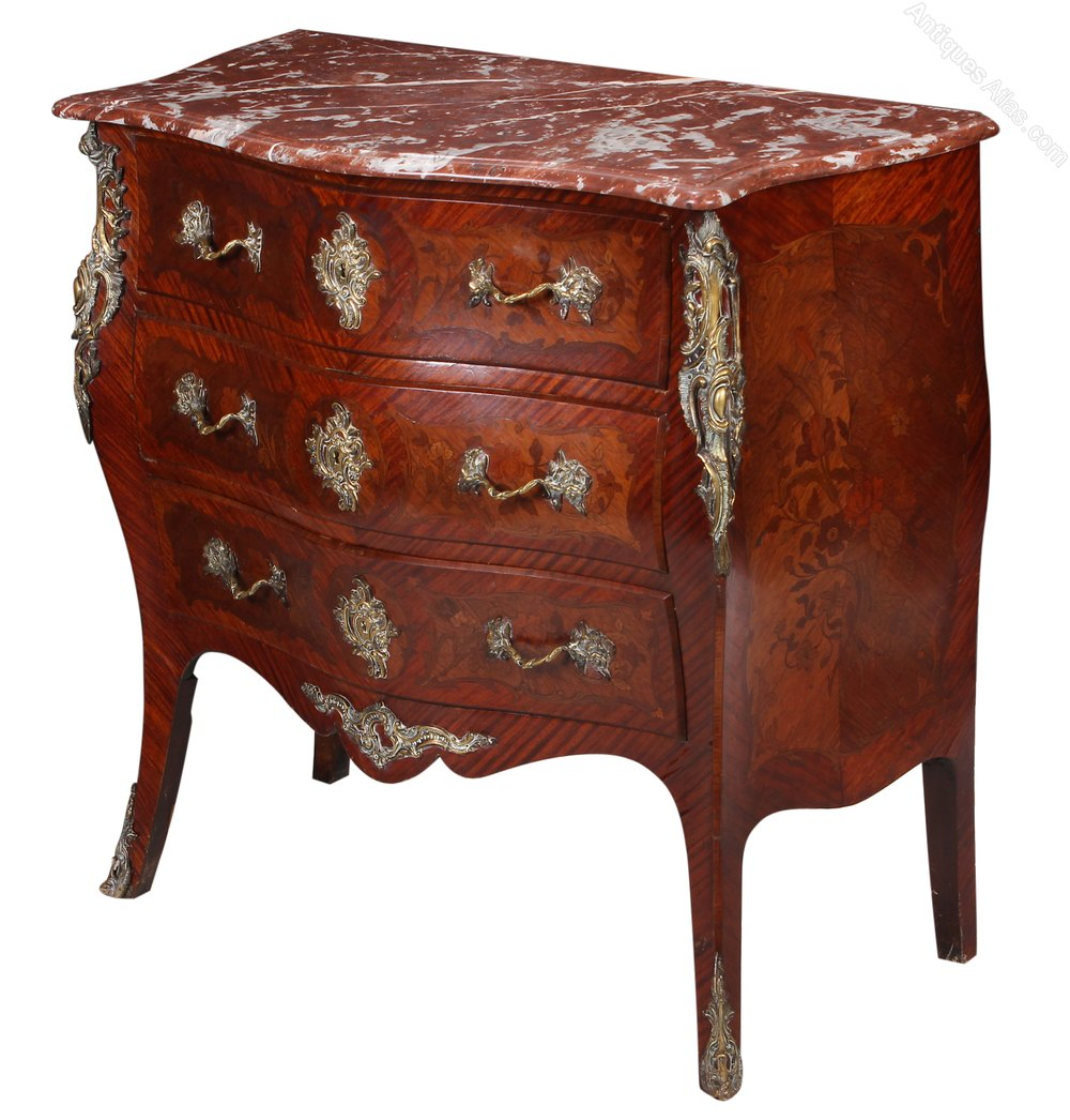 Marquetry Inlaid Bombe Commode Chest Of Drawers Antiques