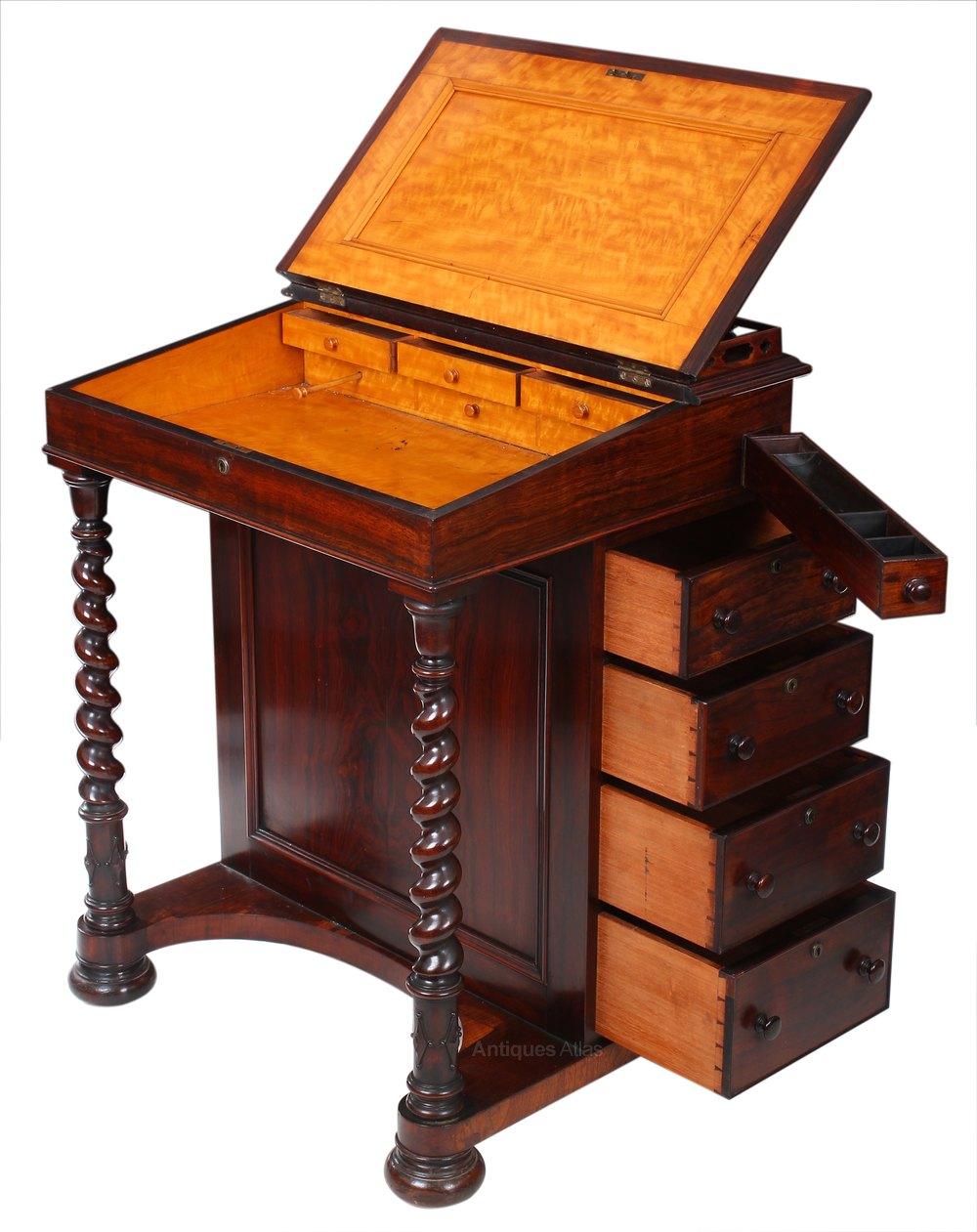 Rosewood Davenport Desk Antique Davenports Alt5 Alt6