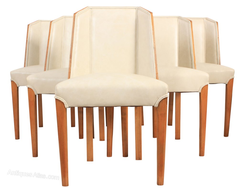 Set of 6 art deco dining chairs antiques atlas for Set of 6 dining chairs