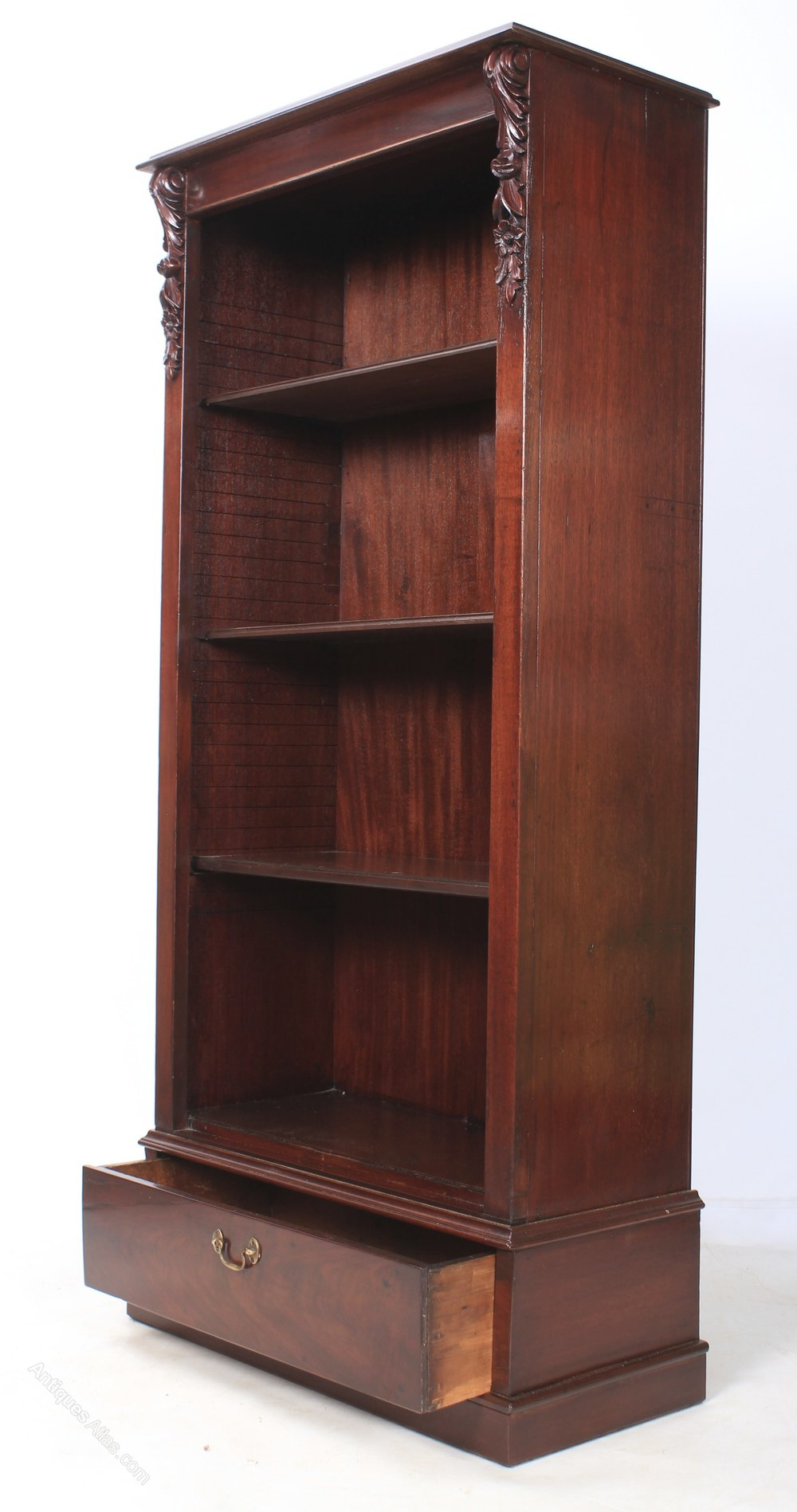 Slim Mahogany Open Bookcase - Antiques Atlas