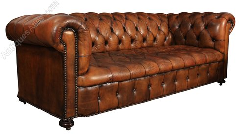 Vintage Brown Leather Chesterfield Sofa - Antiques Atlas
