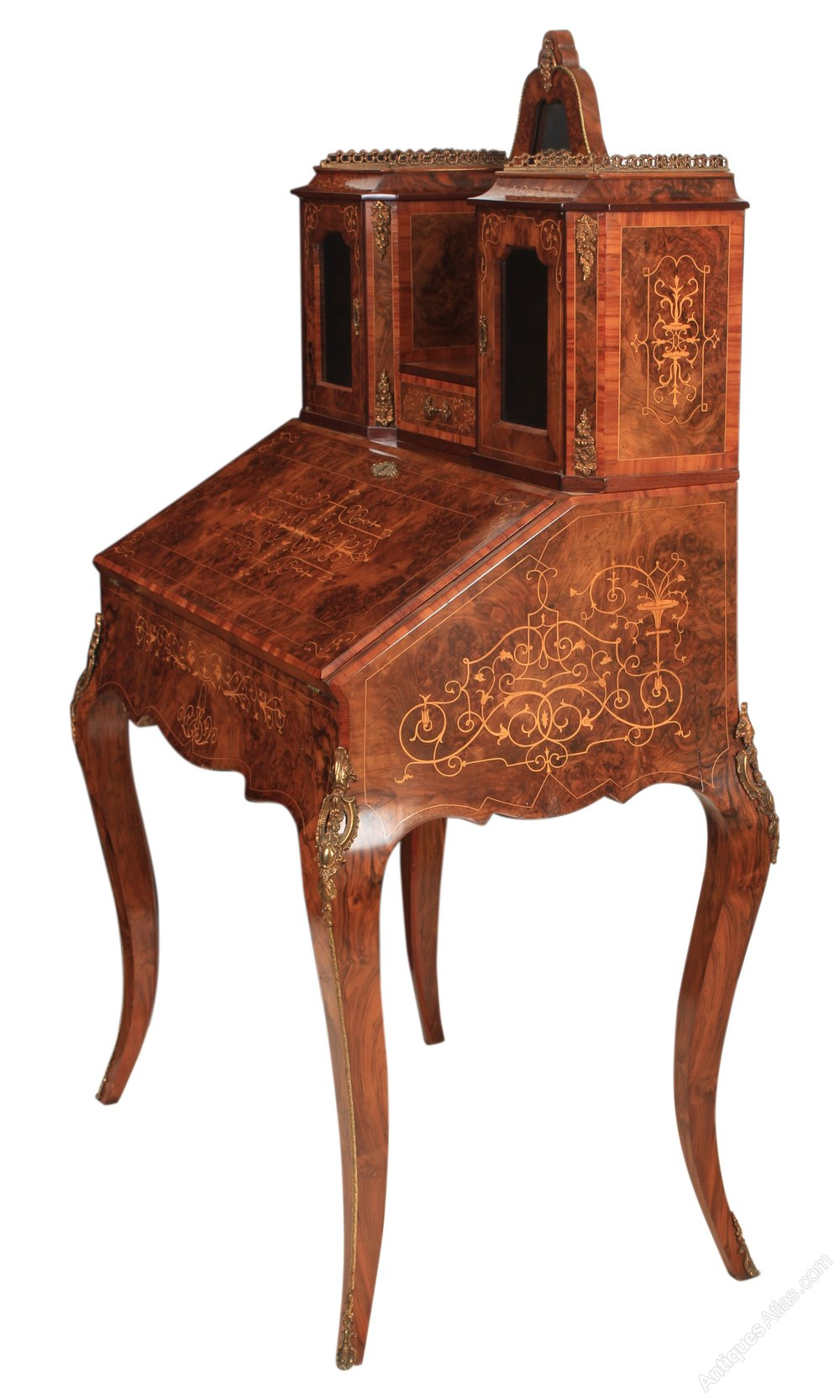 Walnut Marquetry Inlaid Bonheur Du Jour Writing Desk