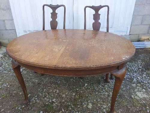 Outstanding Six Oak Queen Anne Style Chairs And Table Antiques Atlas Dailytribune Chair Design For Home Dailytribuneorg