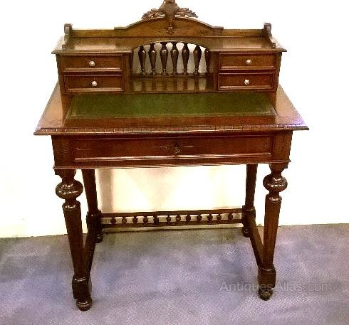 Pretty French Writing Table In Walnut Antique Tables Desk Alt5