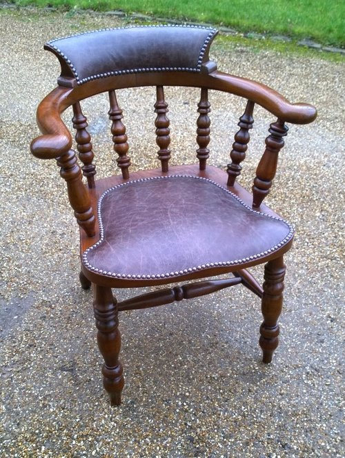 Superb Example Of Captains Chair, Leather Seat