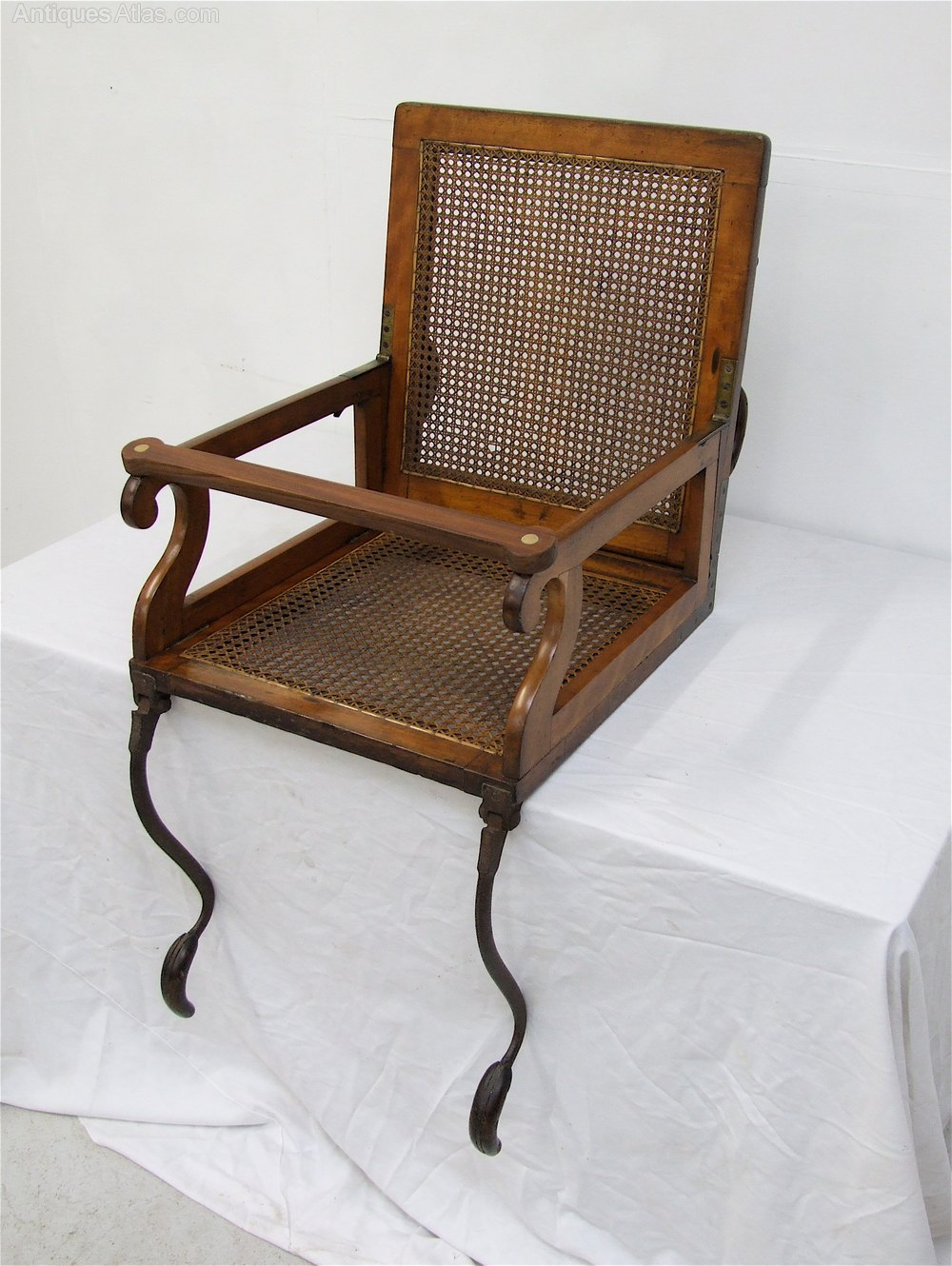 Metal Folding Chair With Scroll Back >> 19th C. Folding Campaign Travel Chair - Alderman - Antiques Atlas