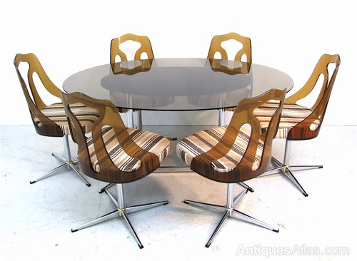 Antiques Atlas Vintage Retro Glass Chrome Dining Table Chairs