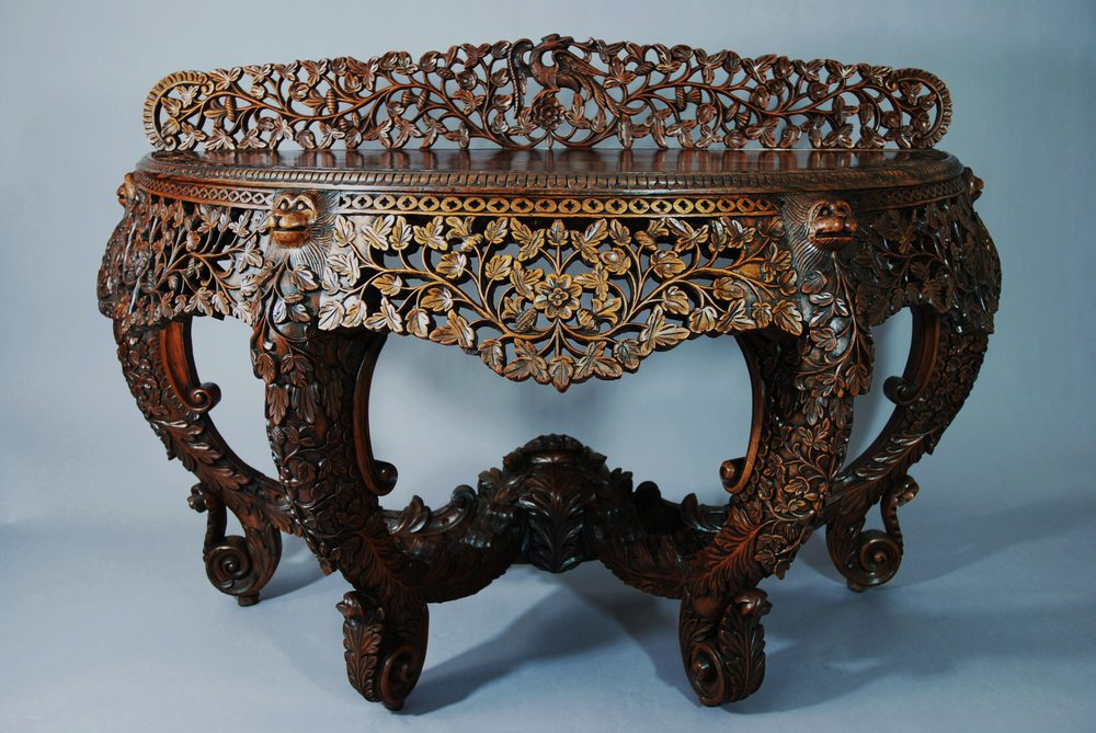 Bon Anglo Indian Carved Rosewood Console Table ...