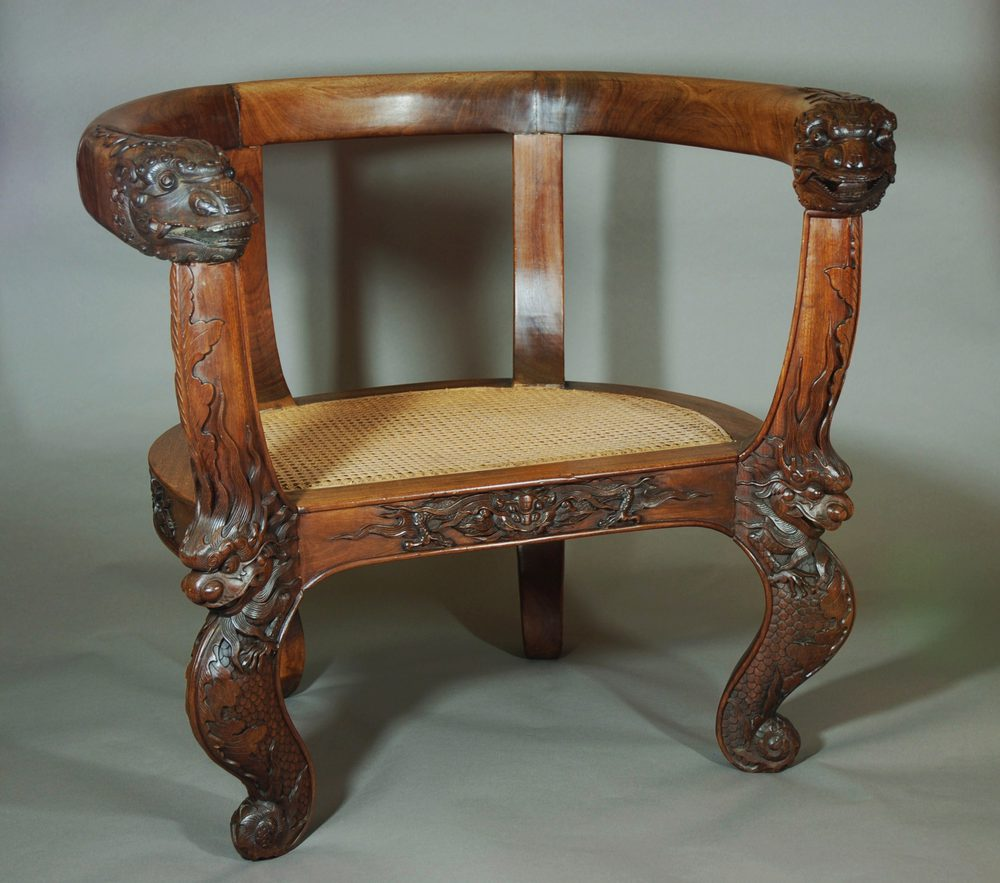 Chinese Armchair With Carved Dragons - Antiques Atlas