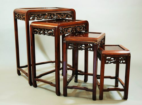 Chinese hardwood quartetto nest of tables antiques atlas watchthetrailerfo