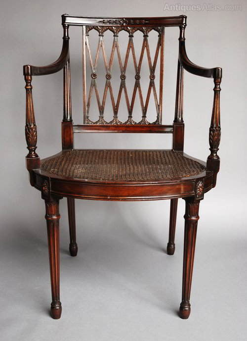 Edwardian mahogany Sheraton style chair Antique ... - Edwardian Mahogany Sheraton Style Chair - Antiques Atlas