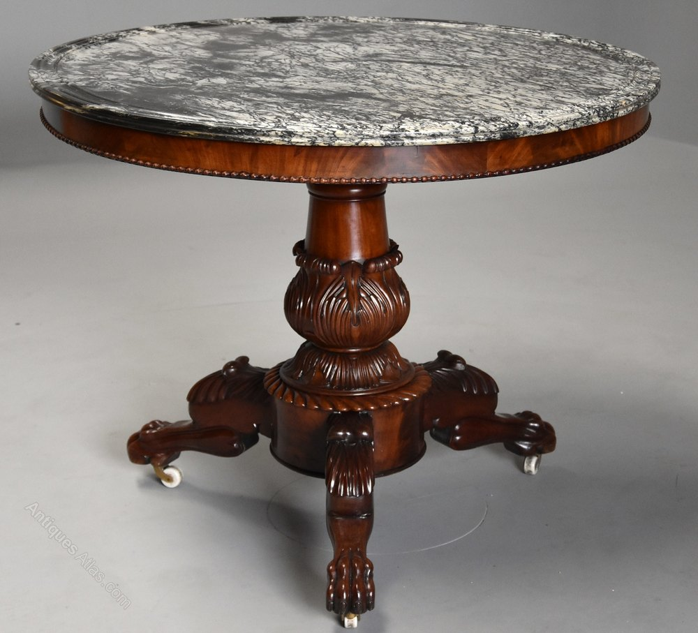 Stunning French Gueridon table with original marble top Antique Gueridon Tables