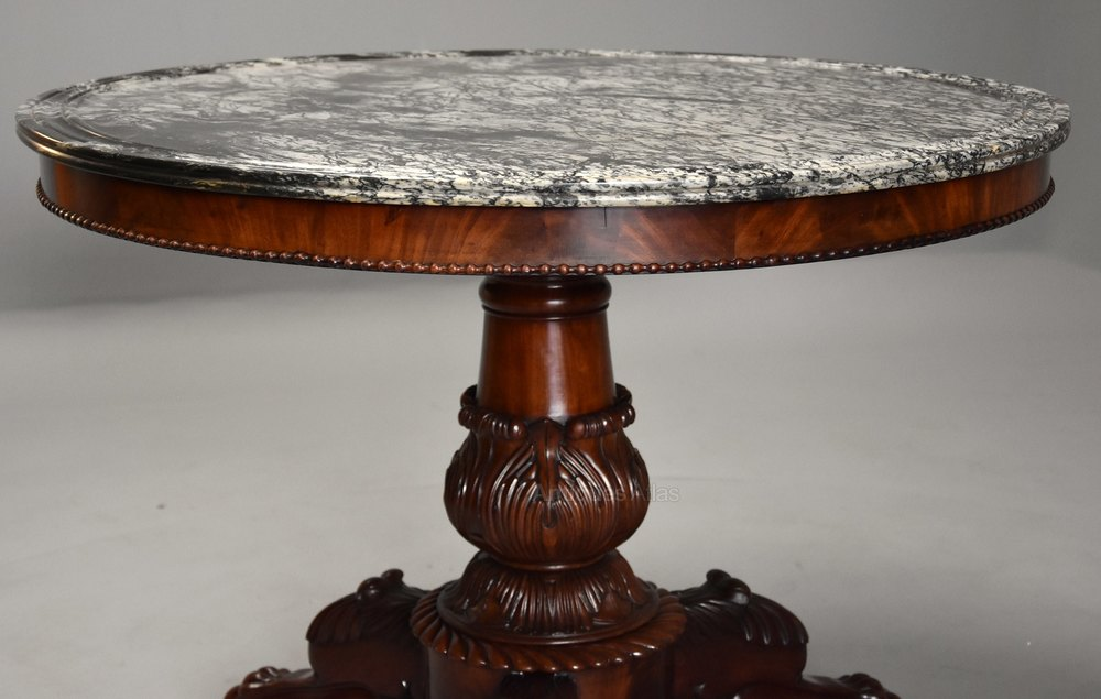 Great Photos French Gueridon table with original marble top