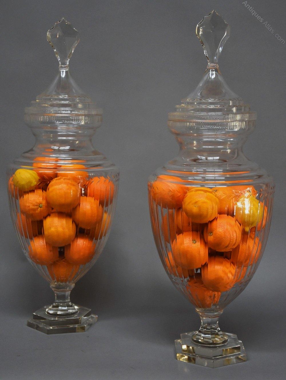 Antiques atlas large pair of decorative glass lidded jars for Designer glass jars