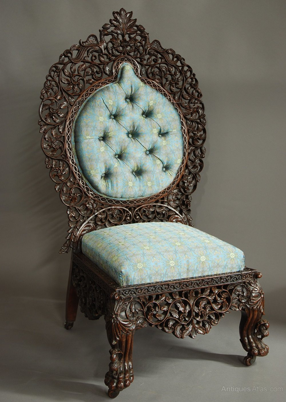 Mid 19thc Superb Quality Anglo Indian Carved Chair