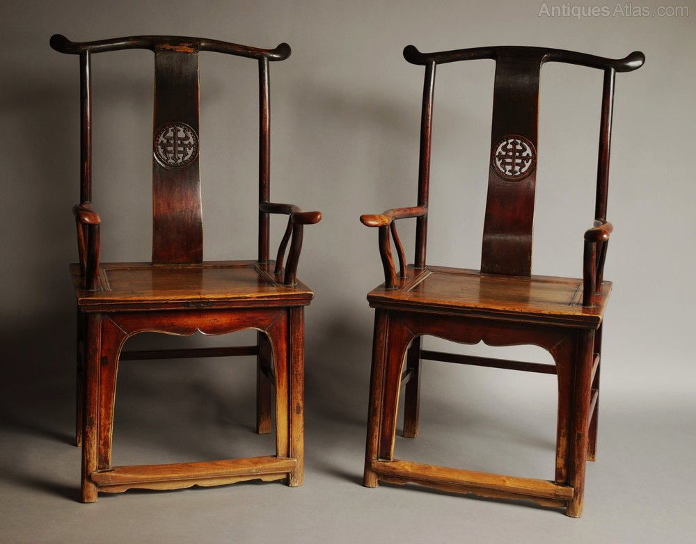 Pair Of Late 19thc Chinese Yoke Back Elm Armchairs Antique Armchairs,  Occasional Chairs ...