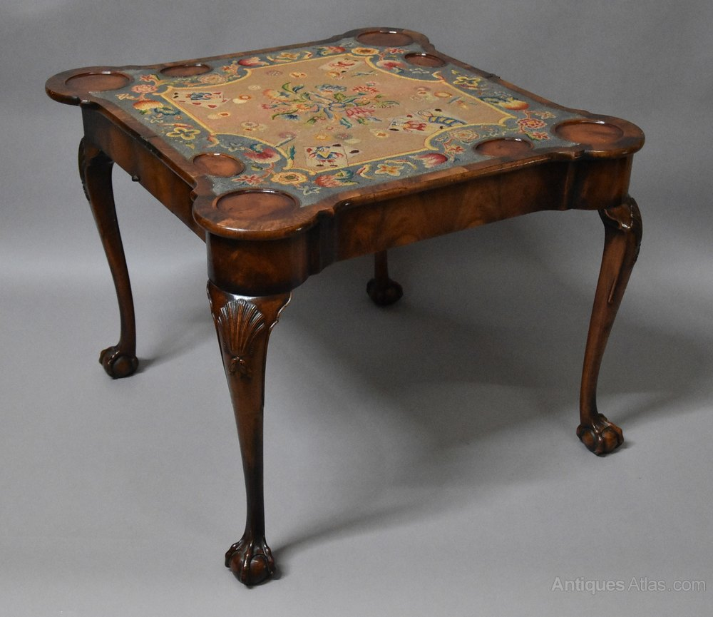 Queen Anne Style Walnut Card Games Table Antiques Atlas