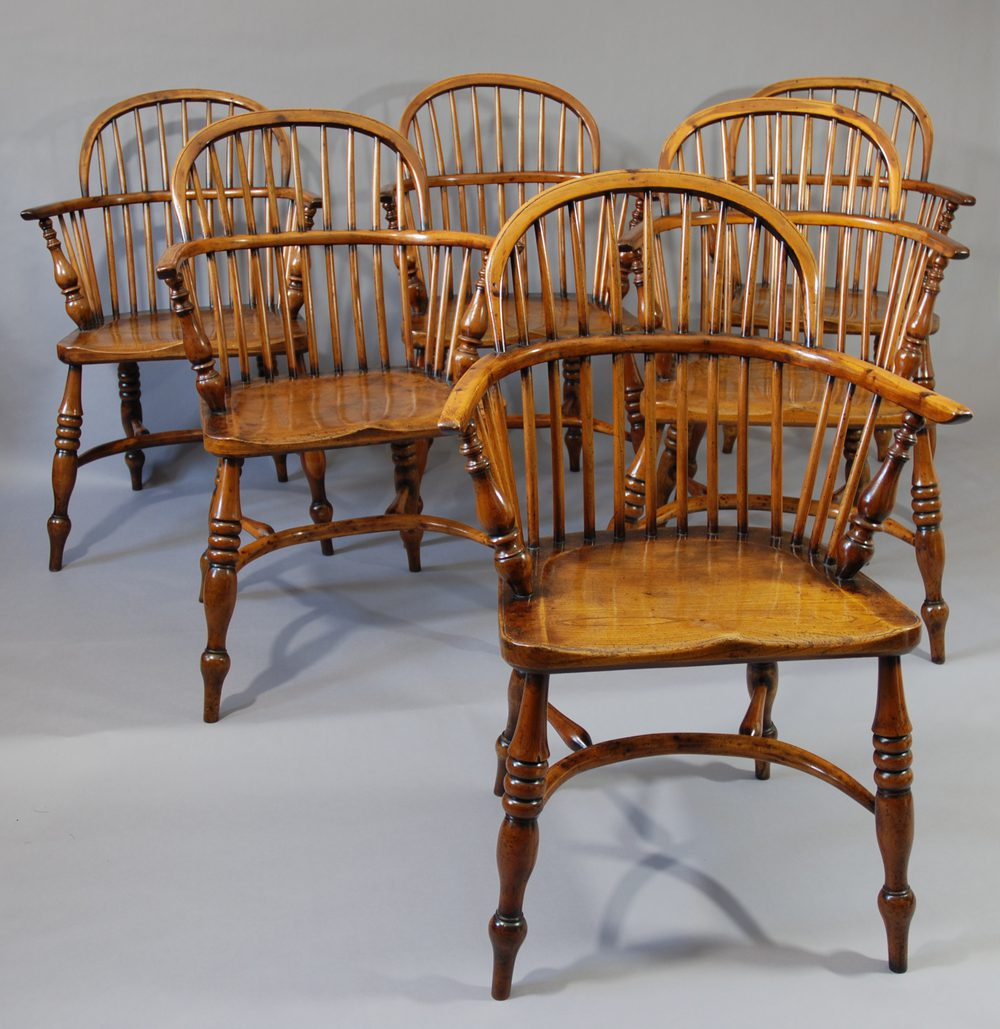 Set Of Six Yew Wood Low Back Windsor Chairs ...