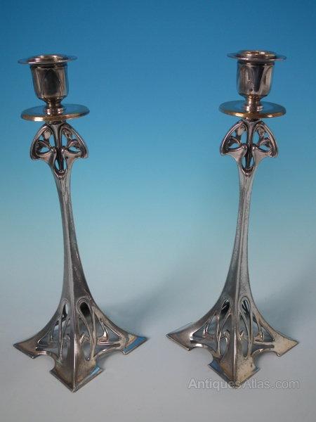 Antiques Atlas Pair Wmf Art Nouveau Candlesticks