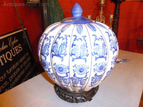 Large Blue White Ginger Jar