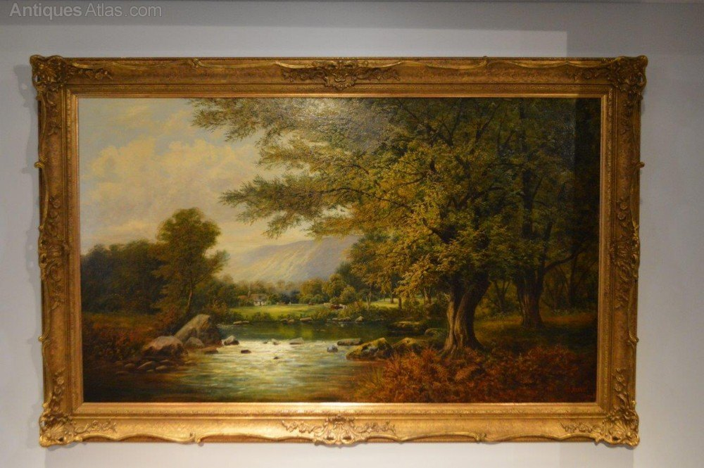 Antiques Atlas 19thc Landscape Oil Painting Of River