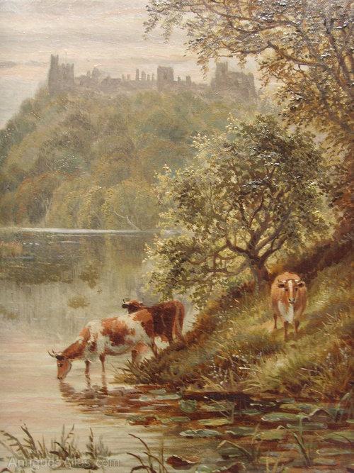 Antiques Atlas 19thc Oil Painting Arundel Castle Cattle