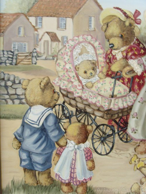Antiques Atlas Childrens Oil Painting Teddy Bears Day Out