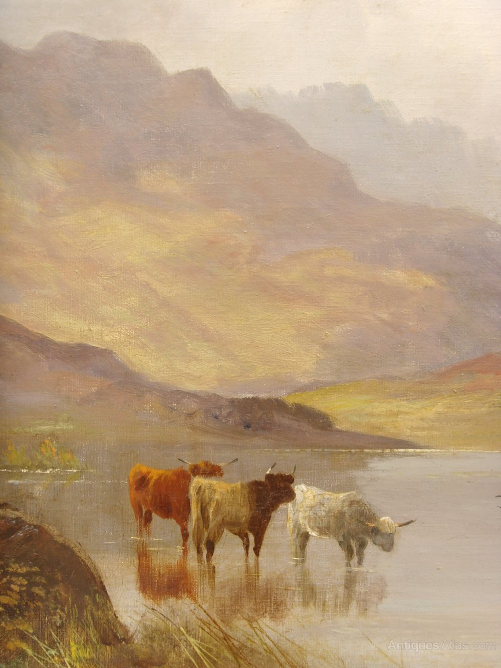 Banks For Sale >> Antiques Atlas - Highland Cattle Oil Painting By William Langley