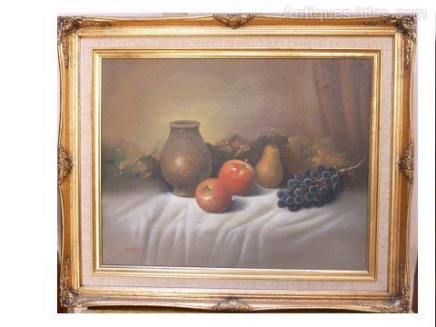 Antiques Atlas Still Life Fruit Oil Painting By R Villa