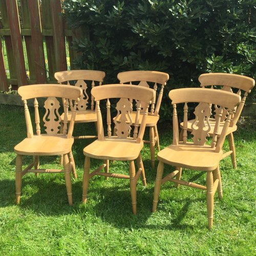 Set of 6 Solid Pine Kitchen / Dining Chairs - Antiques Atlas - Set Of 6 Solid Pine Kitchen / Dining Chairs