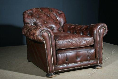 Miraculous Large Edwardian Leather Club Chair Antiques Atlas Frankydiablos Diy Chair Ideas Frankydiabloscom